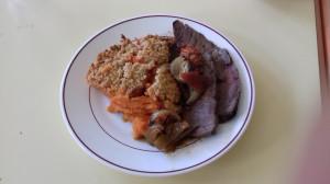 Rosbeef et crumble aux patates douces